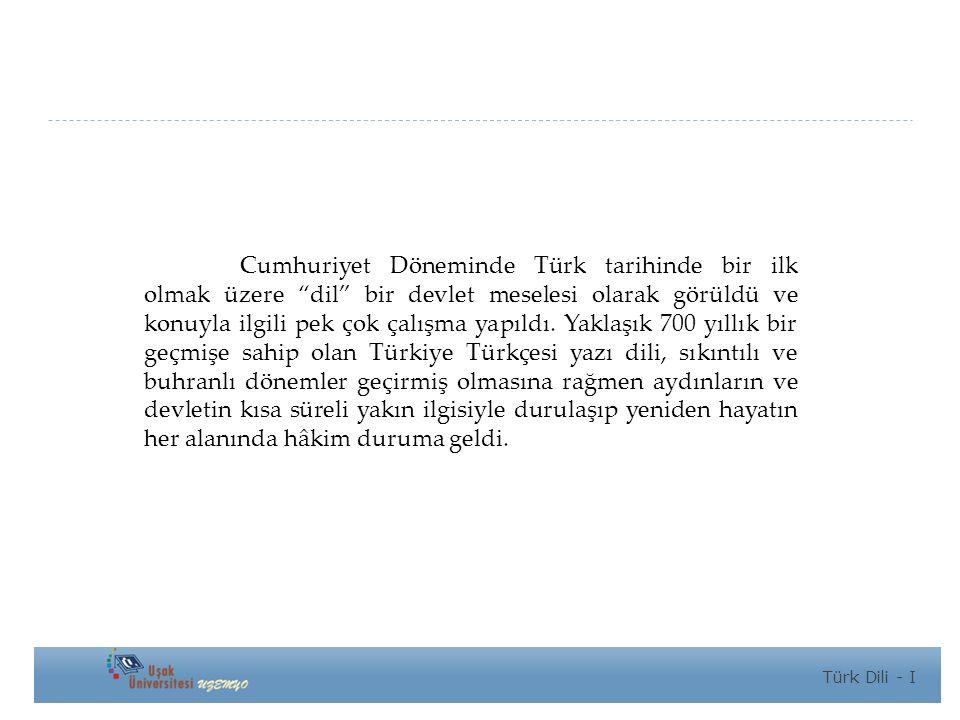 Cumhuriyet Döneminde Türk tarihinde bir ilk olmak üzere dil bir devlet meselesi olarak görüldü ve konuyla ilgili pek çok çalışma yapıldı.