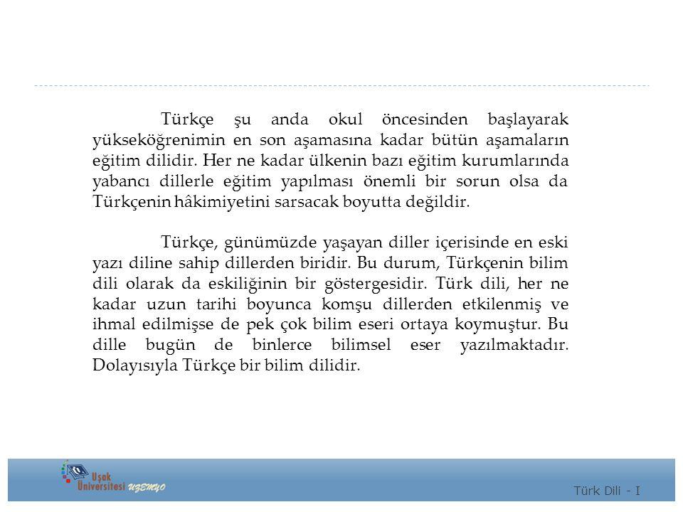 Türkçe şu anda okul öncesinden başlayarak yükseköğrenimin en son aşamasına kadar bütün aşamaların eğitim dilidir.