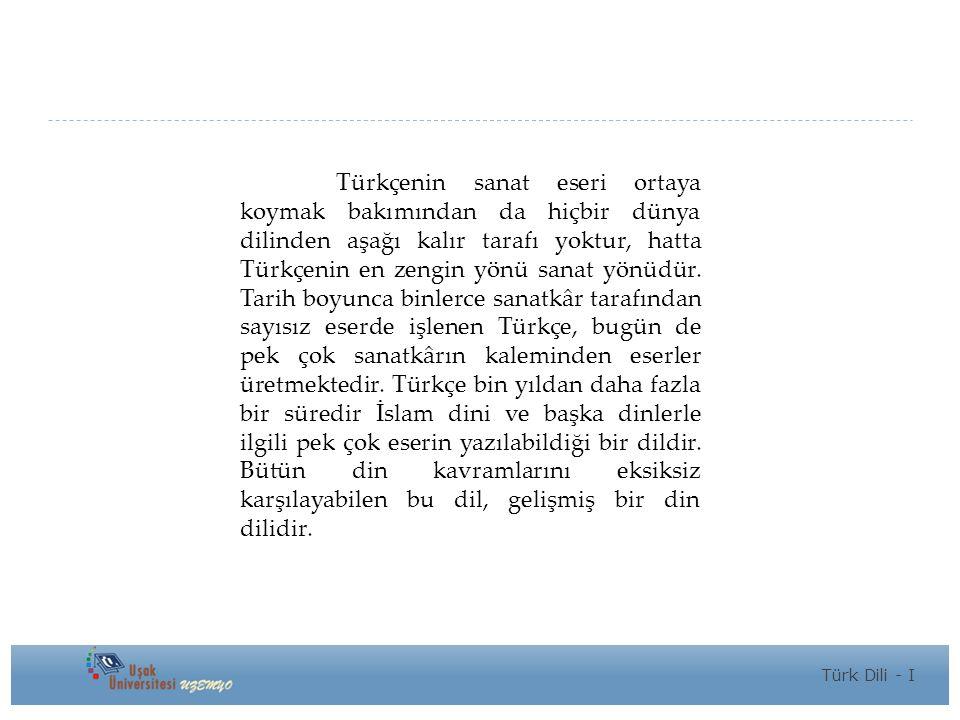 Türkçenin sanat eseri ortaya koymak bakımından da hiçbir dünya dilinden aşağı kalır tarafı yoktur, hatta Türkçenin en zengin yönü sanat yönüdür.