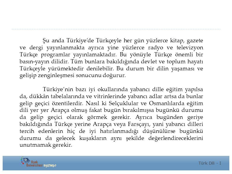 Şu anda Türkiye'de Türkçeyle her gün yüzlerce kitap, gazete ve dergi yayınlanmakta ayrıca yine yüzlerce radyo ve televizyon Türkçe programlar yayınlamaktadır.