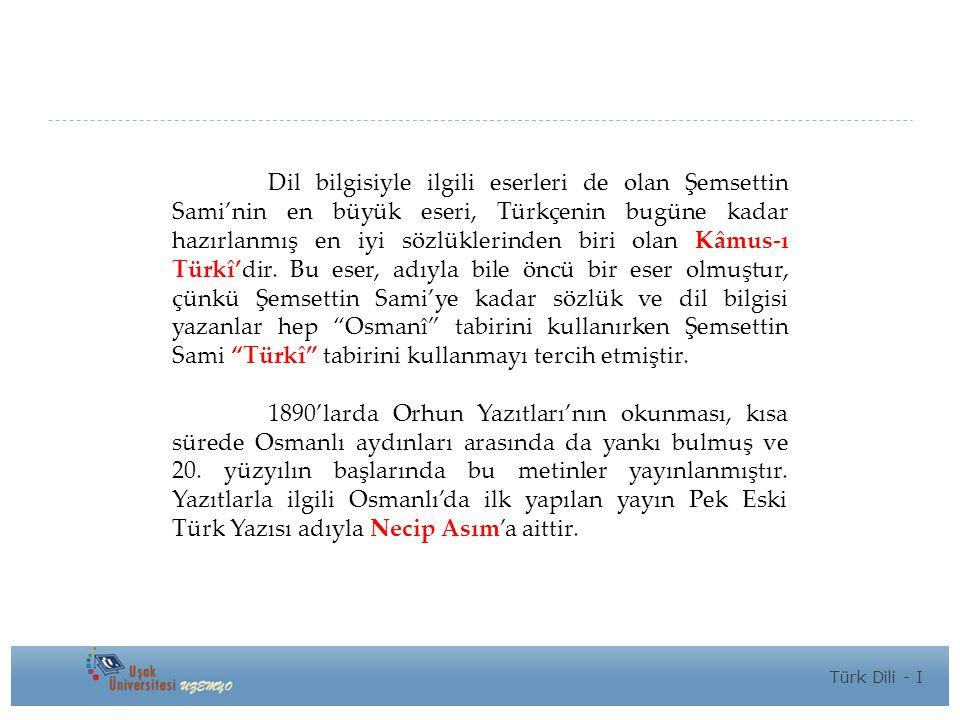 Dil bilgisiyle ilgili eserleri de olan Şemsettin Sami'nin en büyük eseri, Türkçenin bugüne kadar hazırlanmış en iyi sözlüklerinden biri olan Kâmus-ı Türkî'dir.