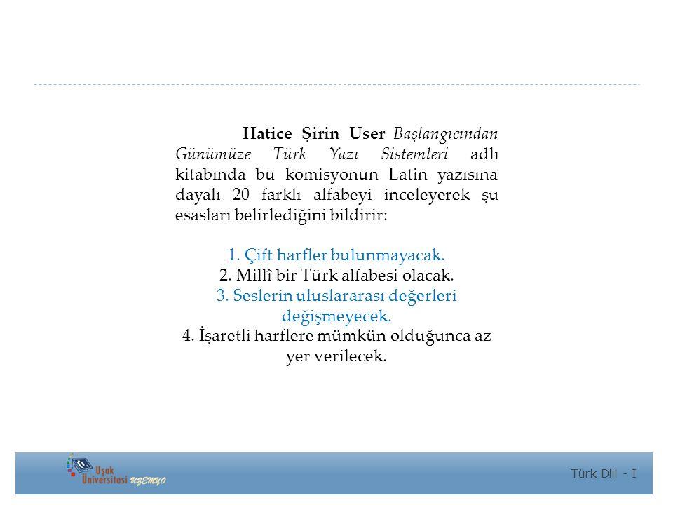 Hatice Şirin User Başlangıcından Günümüze Türk Yazı Sistemleri adlı kitabında bu komisyonun Latin yazısına dayalı 20 farklı alfabeyi inceleyerek şu esasları belirlediğini bildirir: 1.