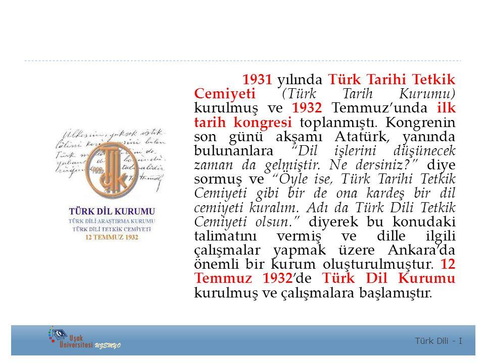 1931 yılında Türk Tarihi Tetkik Cemiyeti (Türk Tarih Kurumu) kurulmuş ve 1932 Temmuz'unda ilk tarih kongresi toplanmıştı.