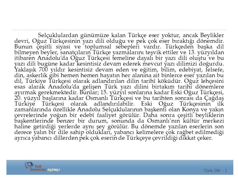 Selçuklulardan günümüze kalan Türkçe eser yoktur, ancak Beylikler devri, Oğuz Türkçesinin yazı dili olduğu ve pek çok eser bıraktığı dönemdir.
