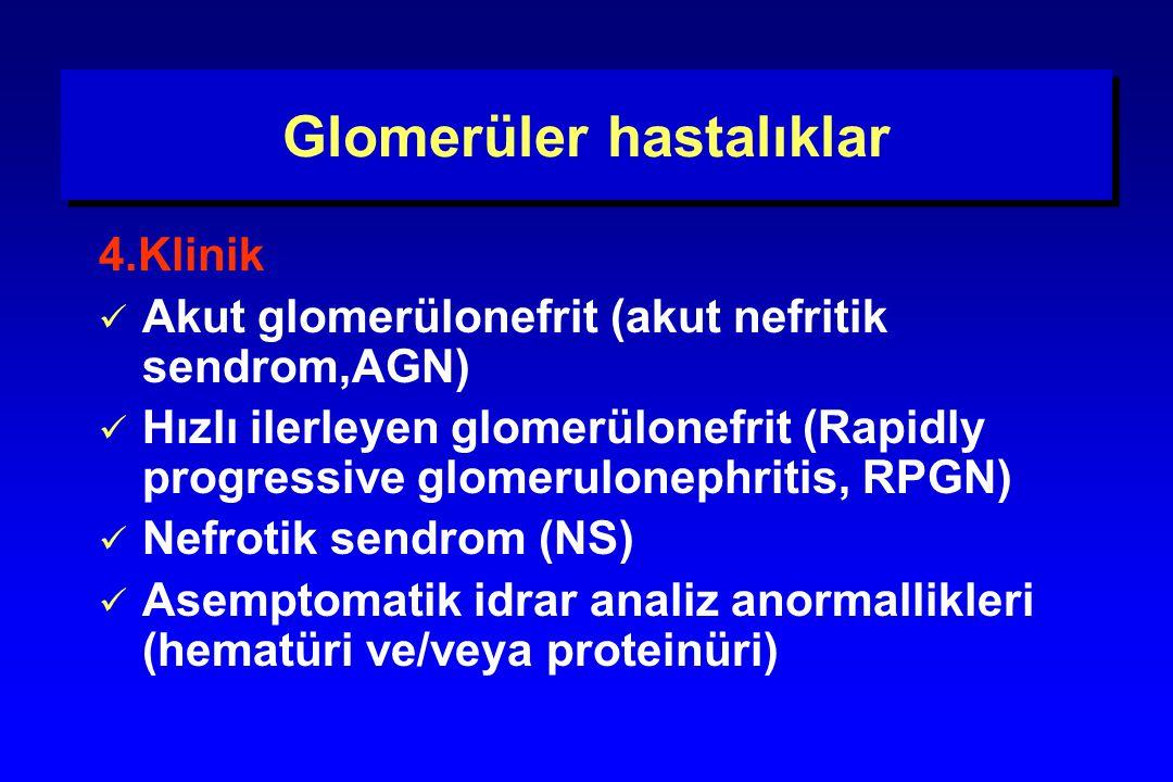 Glomerüler hastalıklar 4.Klinik Akut glomerülonefrit (akut nefritik sendrom,AGN) Hızlı ilerleyen glomerülonefrit (Rapidly progressive glomerulonephrit