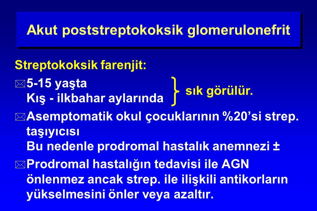 Akut poststreptokoksik glomerulonefrit Streptokoksik farenjit: * 5-15 yaşta Kış - ilkbahar aylarında * Asemptomatik okul çocuklarının %20'si strep. ta