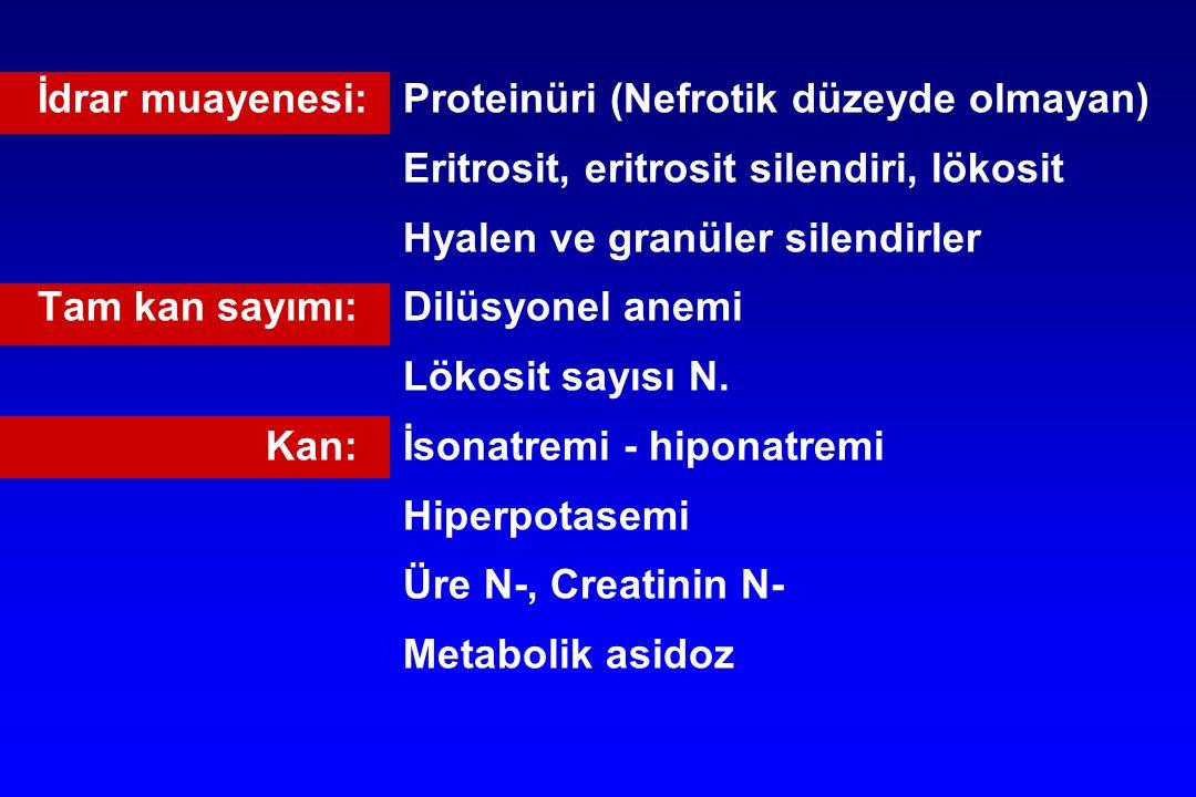 İdrar muayenesi:Proteinüri (Nefrotik düzeyde olmayan) Eritrosit, eritrosit silendiri, lökosit Hyalen ve granüler silendirler Tam kan sayımı:Dilüsyonel