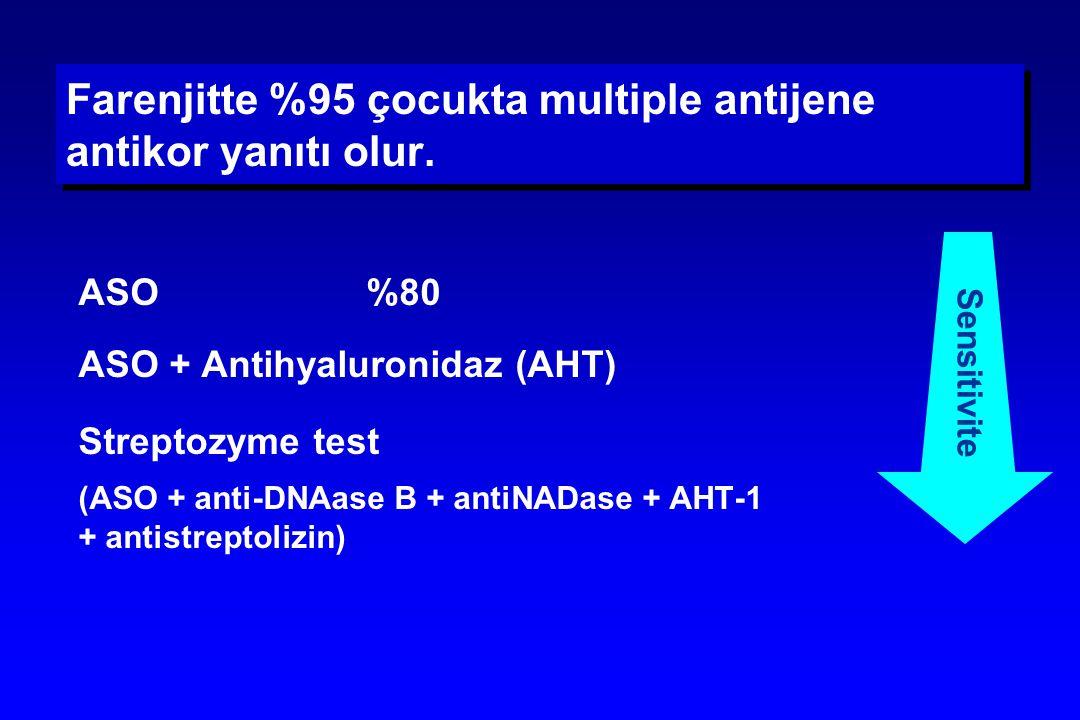 Farenjitte %95 çocukta multiple antijene antikor yanıtı olur. ASO  %80 ASO + Antihyaluronidaz (AHT) Streptozyme test (ASO + anti-DNAase B + antiNADas
