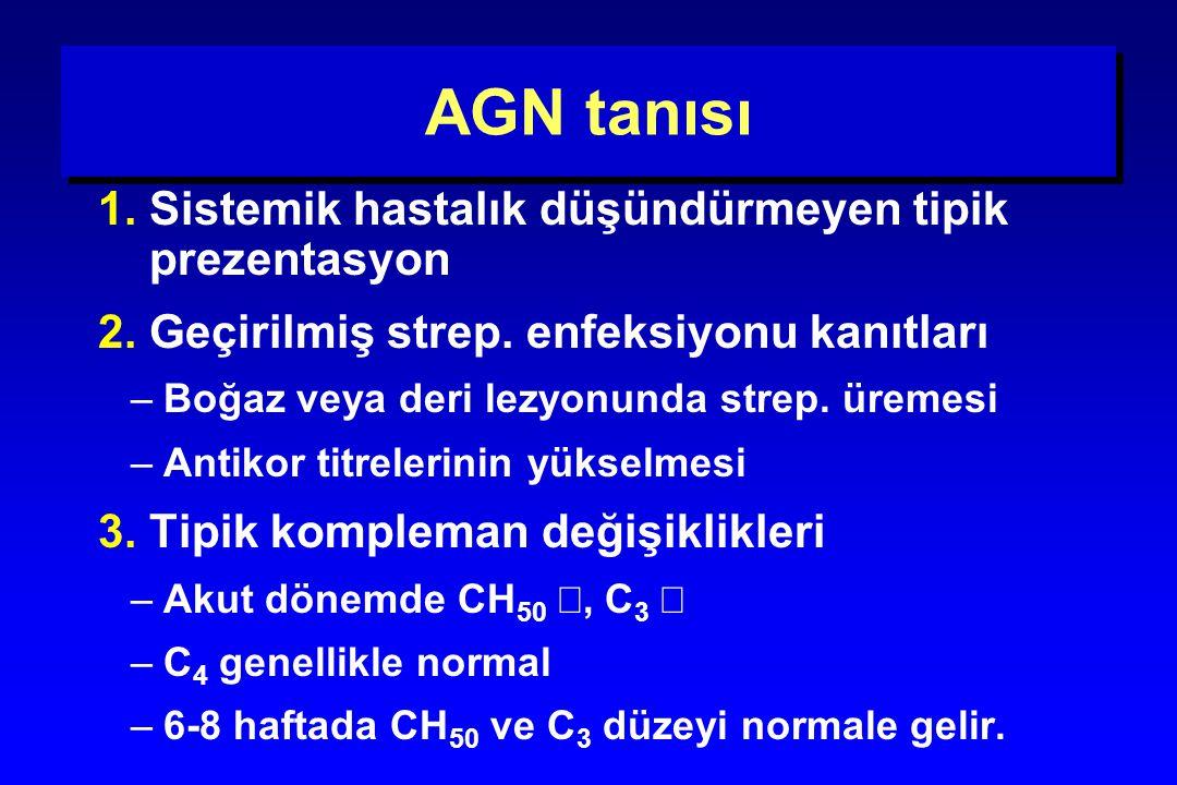 AGN tanısı 1. Sistemik hastalık düşündürmeyen tipik prezentasyon 2. Geçirilmiş strep. enfeksiyonu kanıtları –Boğaz veya deri lezyonunda strep. üremesi