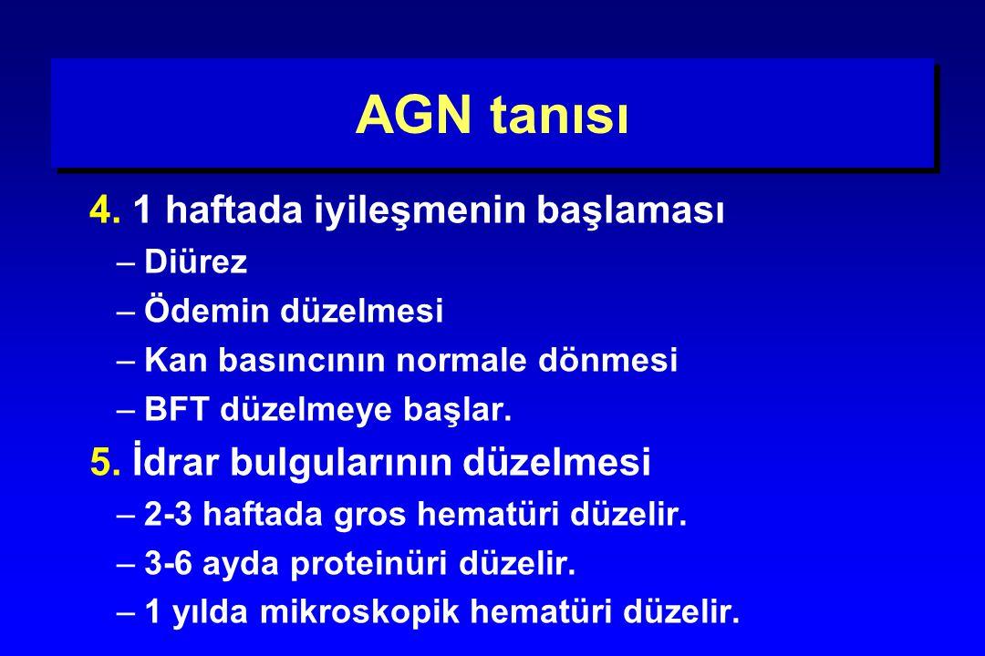 AGN tanısı 4. 1 haftada iyileşmenin başlaması –Diürez –Ödemin düzelmesi –Kan basıncının normale dönmesi –BFT düzelmeye başlar. 5. İdrar bulgularının d