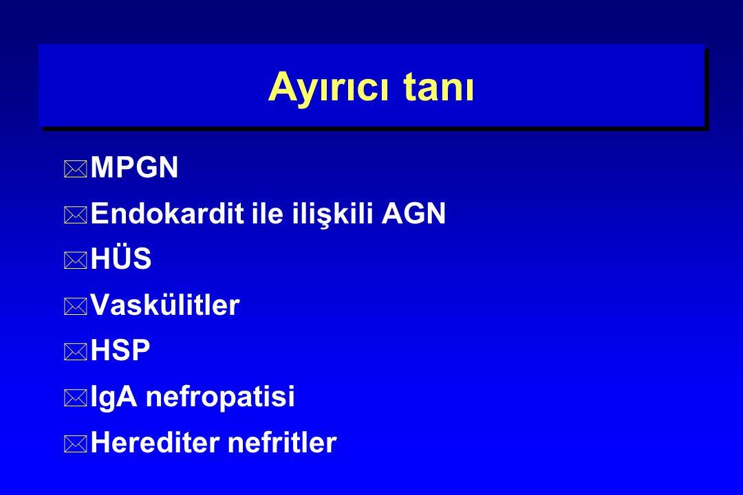 Ayırıcı tanı * MPGN * Endokardit ile ilişkili AGN * HÜS * Vaskülitler * HSP * IgA nefropatisi * Herediter nefritler