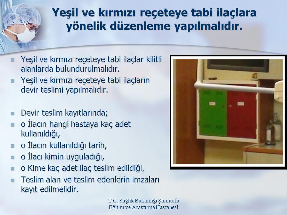 T.C. Sağlık Bakanlığı Şanlıurfa Eğitim ve Araştırma Hastanesi Yeşil ve kırmızı reçeteye tabi ilaçlara yönelik düzenleme yapılmalıdır. Yeşil ve kırmızı