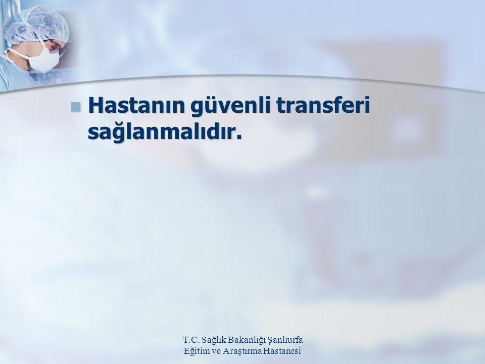 T.C. Sağlık Bakanlığı Şanlıurfa Eğitim ve Araştırma Hastanesi Hastanın güvenli transferi sağlanmalıdır. Hastanın güvenli transferi sağlanmalıdır.