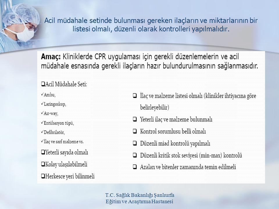 T.C. Sağlık Bakanlığı Şanlıurfa Eğitim ve Araştırma Hastanesi Acil müdahale setinde bulunması gereken ilaçların ve miktarlarının bir listesi olmalı, d