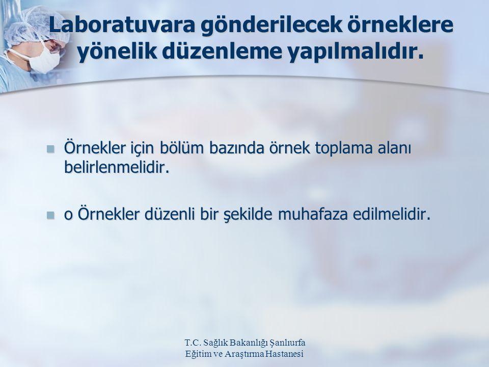 T.C. Sağlık Bakanlığı Şanlıurfa Eğitim ve Araştırma Hastanesi Laboratuvara gönderilecek örneklere yönelik düzenleme yapılmalıdır. Örnekler için bölüm