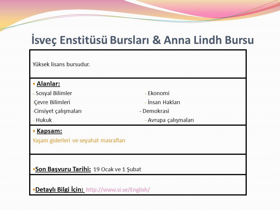 İsveç Enstitüsü Bursları & Anna Lindh Bursu Yüksek lisans bursudur.