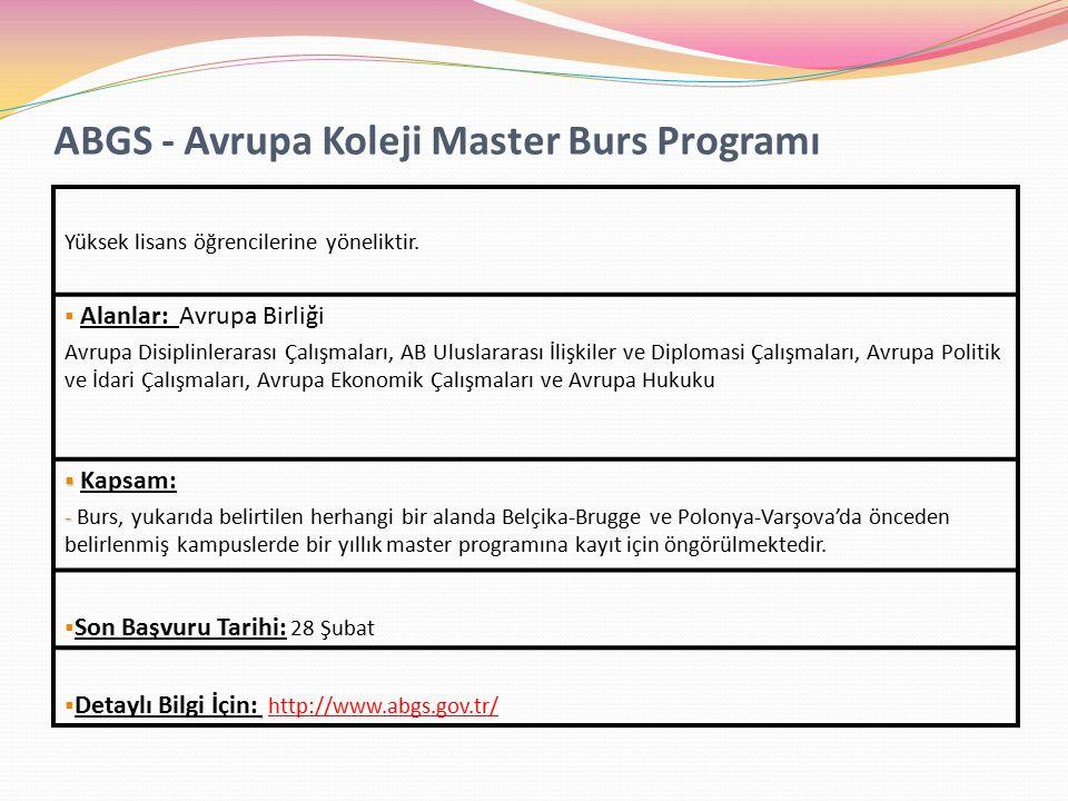 ABGS - Avrupa Koleji Master Burs Programı Yüksek lisans öğrencilerine yöneliktir.