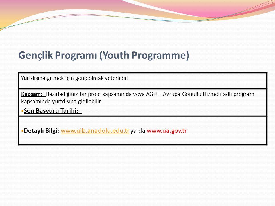 Gençlik Programı (Youth Programme) Yurtdışına gitmek için genç olmak yeterlidir.