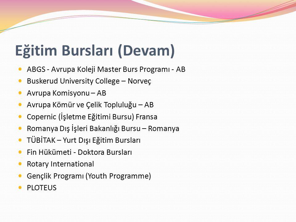 Eğitim Bursları (Devam) ABGS - Avrupa Koleji Master Burs Programı - AB Buskerud University College – Norveç Avrupa Komisyonu – AB Avrupa Kömür ve Çelik Topluluğu – AB Copernic (İşletme Eğitimi Bursu) Fransa Romanya Dış İşleri Bakanlığı Bursu – Romanya TÜBİTAK – Yurt Dışı Eğitim Bursları Fin Hükümeti - Doktora Bursları Rotary International Gençlik Programı (Youth Programme) PLOTEUS