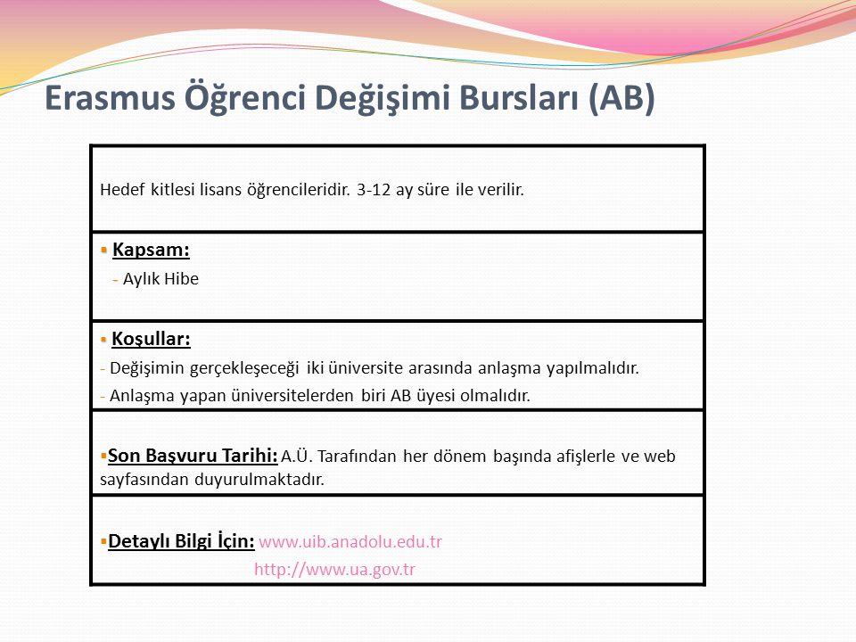 Erasmus Öğrenci Değişimi Bursları (AB) Hedef kitlesi lisans öğrencileridir.