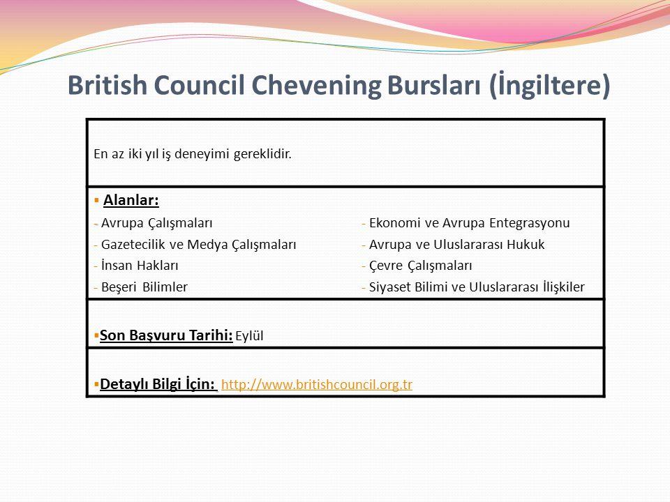 British Council Chevening Bursları (İngiltere) En az iki yıl iş deneyimi gereklidir.
