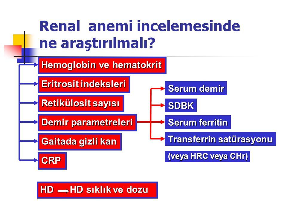 Renal anemi incelemesinde ne araştırılmalı? Hemoglobin ve hematokrit Eritrosit indeksleri Retikülosit sayısı Gaitada gizli kan Serum demir SDBK Transf