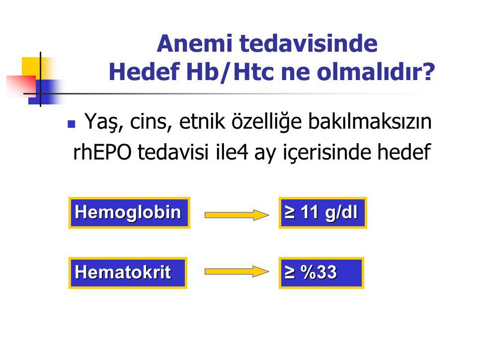 Anemi tedavisinde Hedef Hb/Htc ne olmalıdır? Yaş, cins, etnik özelliğe bakılmaksızın rhEPO tedavisi ile4 ay içerisinde hedef Hemoglobin Hematokrit ≥ %