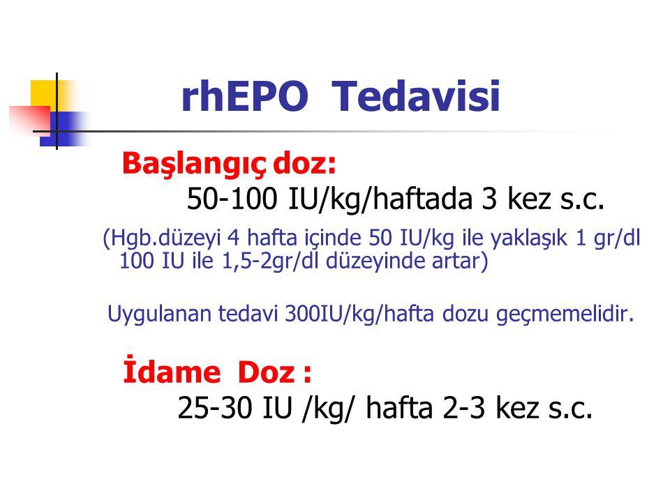 rhEPO Tedavisi Başlangıç doz: 50-100 IU/kg/haftada 3 kez s.c. (Hgb.düzeyi 4 hafta içinde 50 IU/kg ile yaklaşık 1 gr/dl 100 IU ile 1,5-2gr/dl düzeyinde