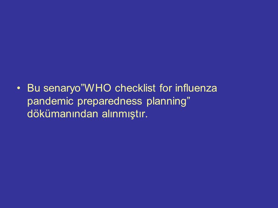 Bu senaryo WHO checklist for influenza pandemic preparedness planning dökümanından alınmıştır.