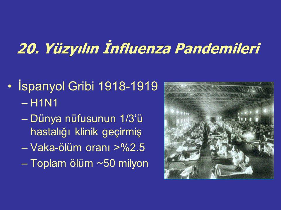 20. Yüzyılın İnfluenza Pandemileri İspanyol Gribi 1918-1919 –H1N1 –Dünya nüfusunun 1/3'ü hastalığı klinik geçirmiş –Vaka-ölüm oranı >%2.5 –Toplam ölüm