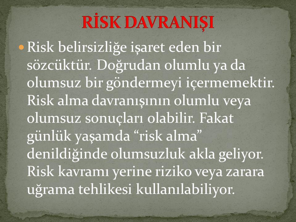 Risk belirsizliğe işaret eden bir sözcüktür. Doğrudan olumlu ya da olumsuz bir göndermeyi içermemektir. Risk alma davranışının olumlu veya olumsuz son