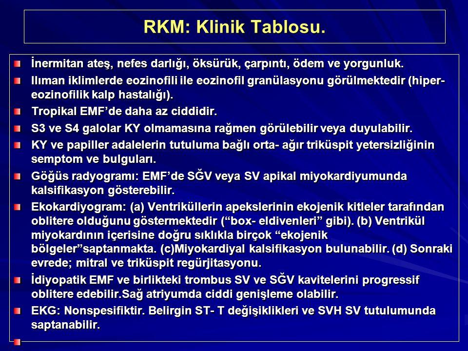 RKM: Klinik Tablosu. İnermitan ateş, nefes darlığı, öksürük, çarpıntı, ödem ve yorgunluk. Ilıman iklimlerde eozinofili ile eozinofil granülasyonu görü