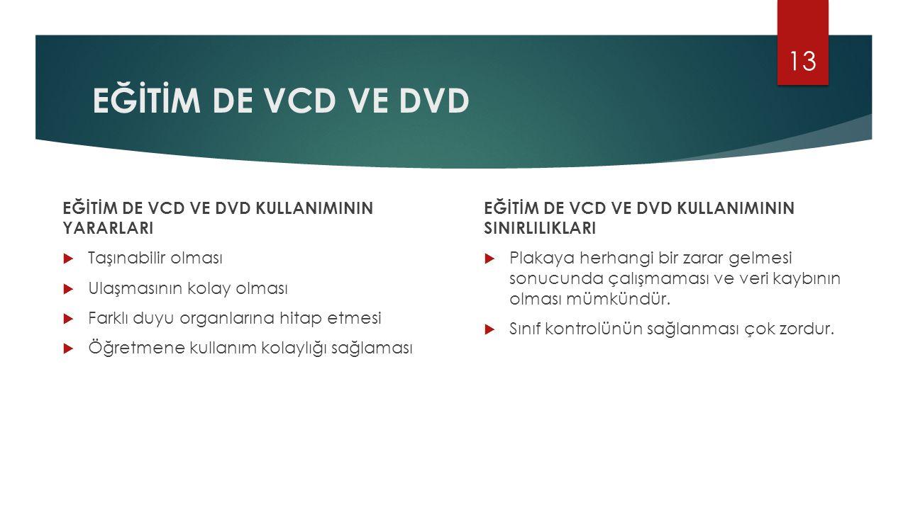 EĞİTİM DE VCD VE DVD EĞİTİM DE VCD VE DVD KULLANIMININ YARARLARI  Taşınabilir olması  Ulaşmasının kolay olması  Farklı duyu organlarına hitap etmes