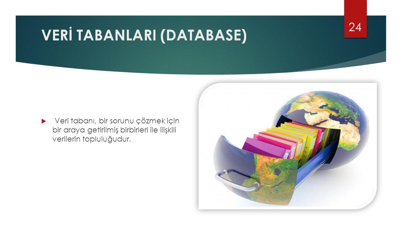 VERİ TABANLARI (DATABASE)  Veri tabanı, bir sorunu çözmek için bir araya getirilmiş birbirleri ile ilişkili verilerin topluluğudur. 24