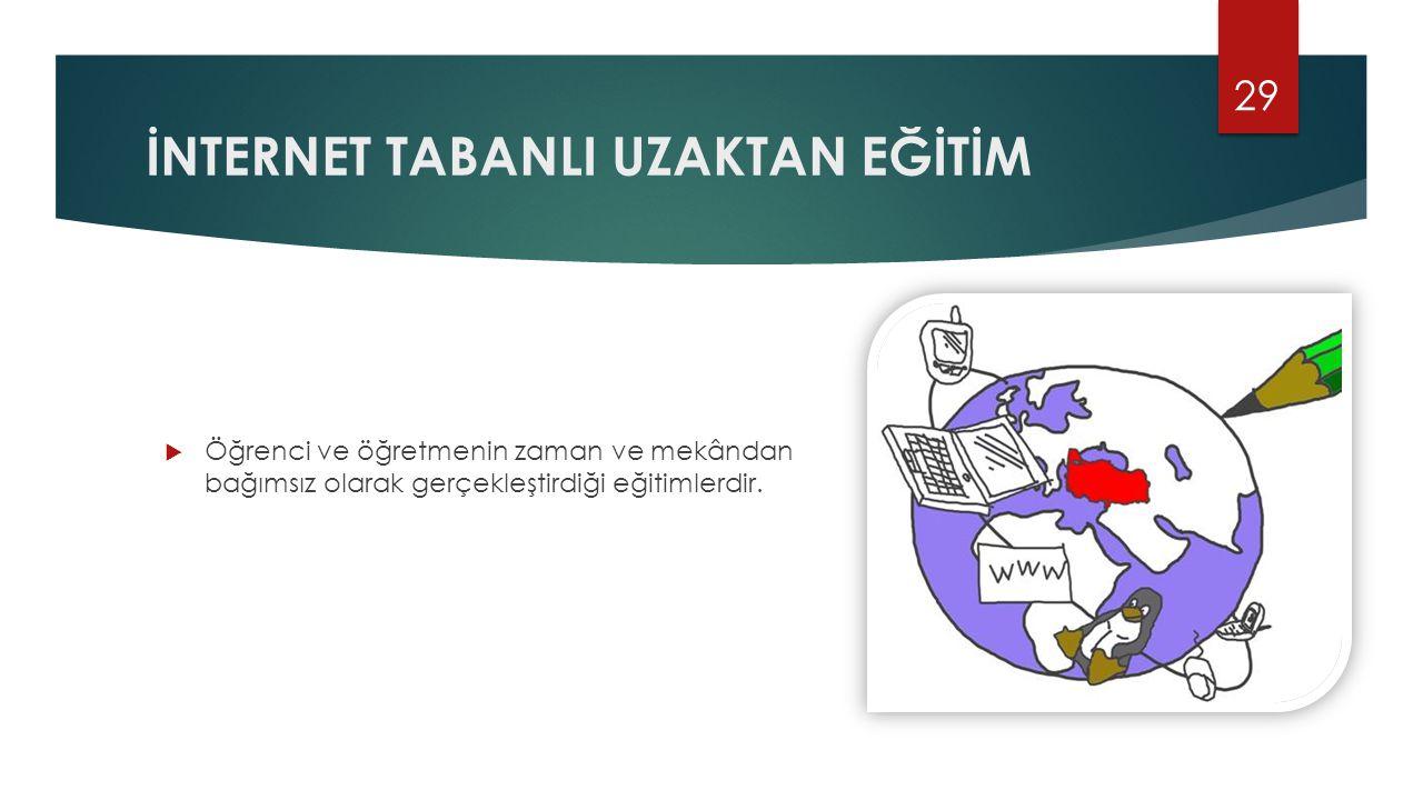 İNTERNET TABANLI UZAKTAN EĞİTİM  Öğrenci ve öğretmenin zaman ve mekândan bağımsız olarak gerçekleştirdiği eğitimlerdir. 29