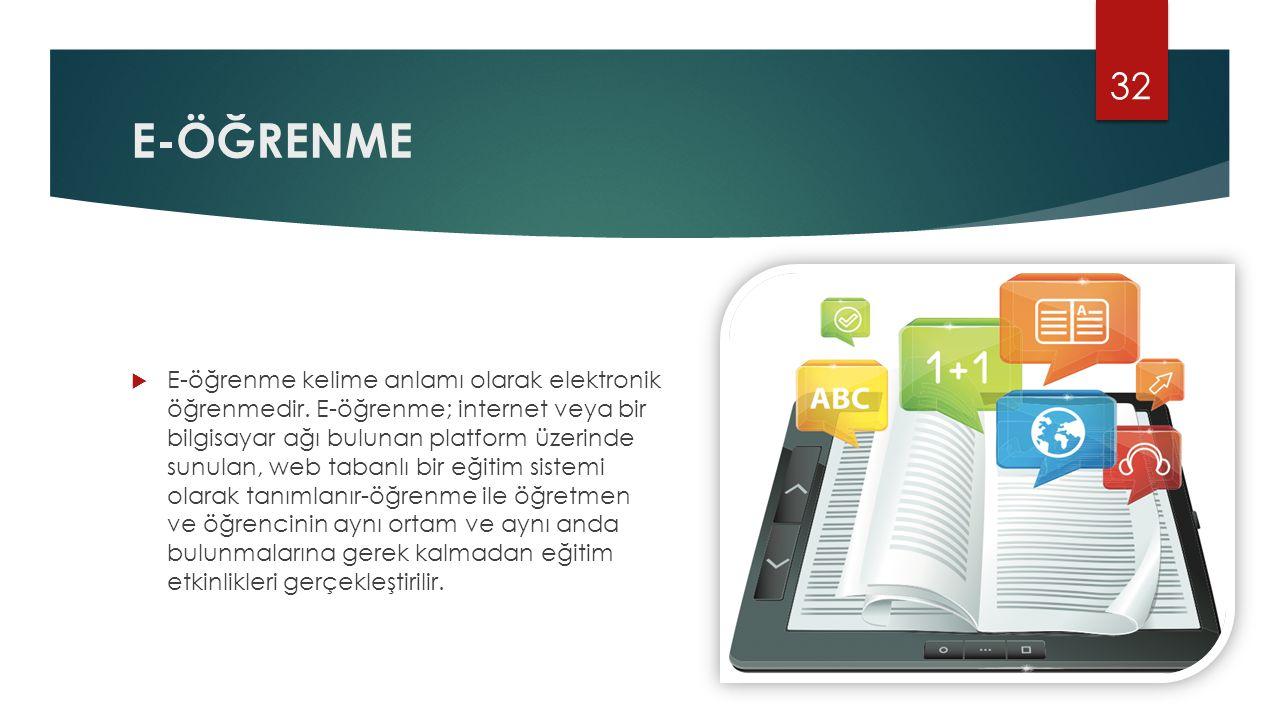 E-ÖĞRENME  E-öğrenme kelime anlamı olarak elektronik öğrenmedir. E-öğrenme; internet veya bir bilgisayar ağı bulunan platform üzerinde sunulan, web t