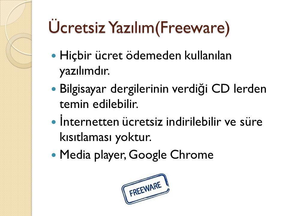 Ücretsiz Yazılım(Freeware) Hiçbir ücret ödemeden kullanılan yazılımdır.