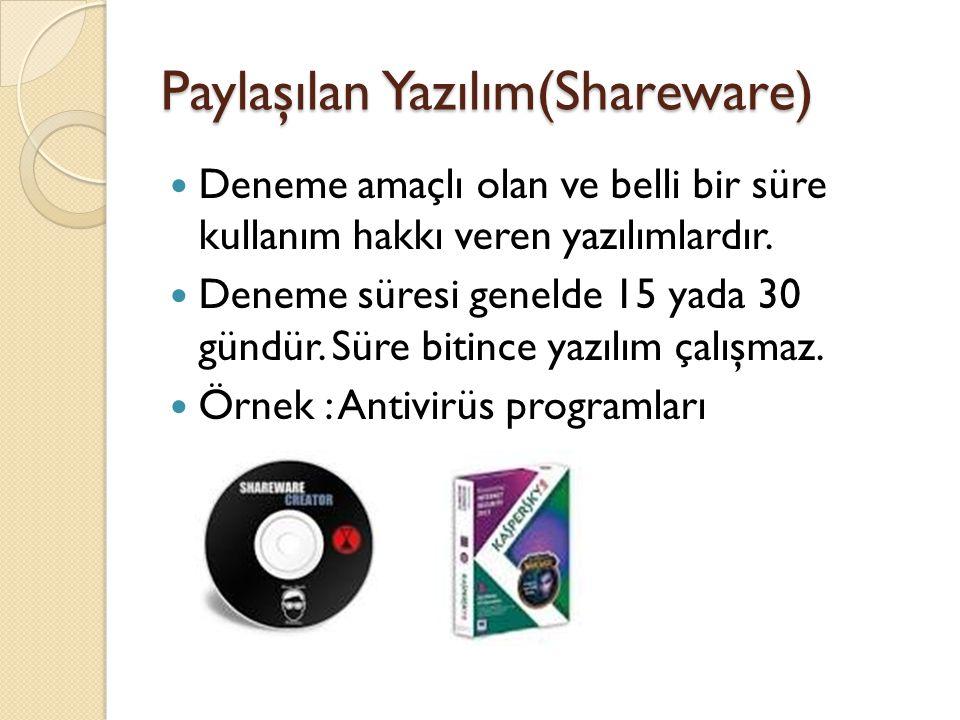 Paylaşılan Yazılım(Shareware) Deneme amaçlı olan ve belli bir süre kullanım hakkı veren yazılımlardır.