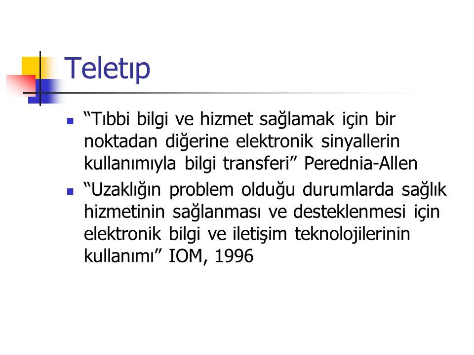 """Teletıp """"Tıbbi bilgi ve hizmet sağlamak için bir noktadan diğerine elektronik sinyallerin kullanımıyla bilgi transferi"""" Perednia-Allen """"Uzaklığın prob"""