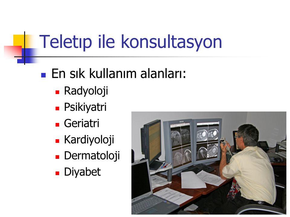 Teletıp ile konsultasyon En sık kullanım alanları: Radyoloji Psikiyatri Geriatri Kardiyoloji Dermatoloji Diyabet