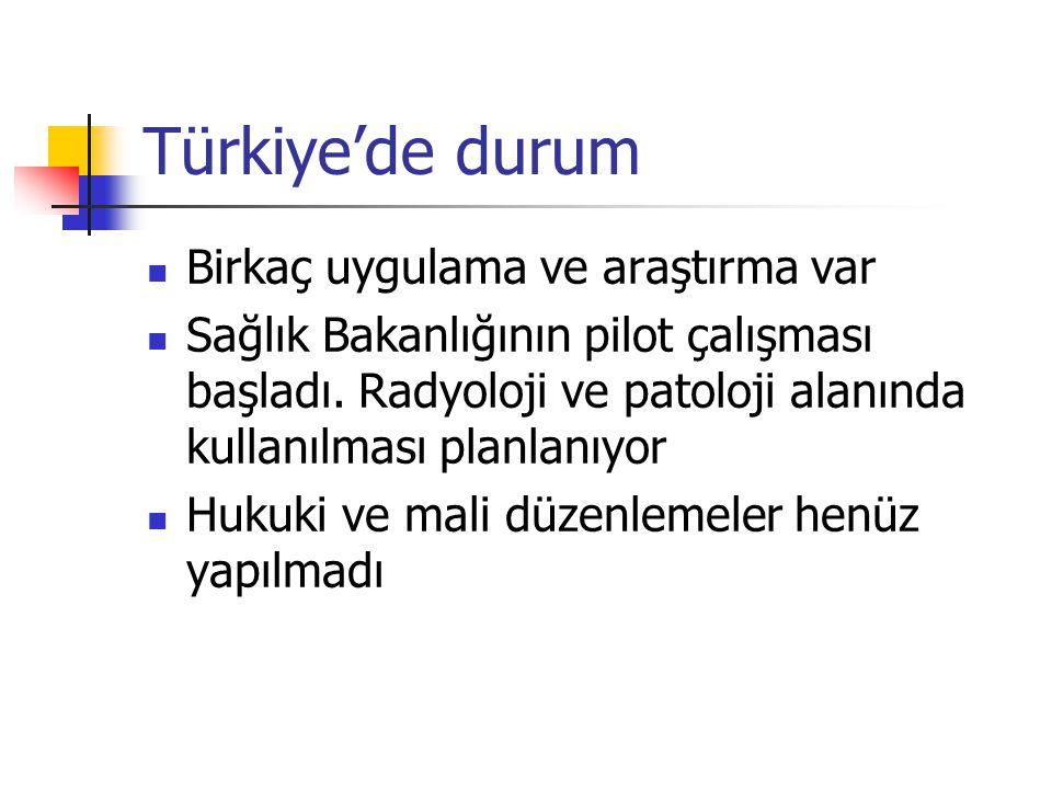 Türkiye'de durum Birkaç uygulama ve araştırma var Sağlık Bakanlığının pilot çalışması başladı. Radyoloji ve patoloji alanında kullanılması planlanıyor