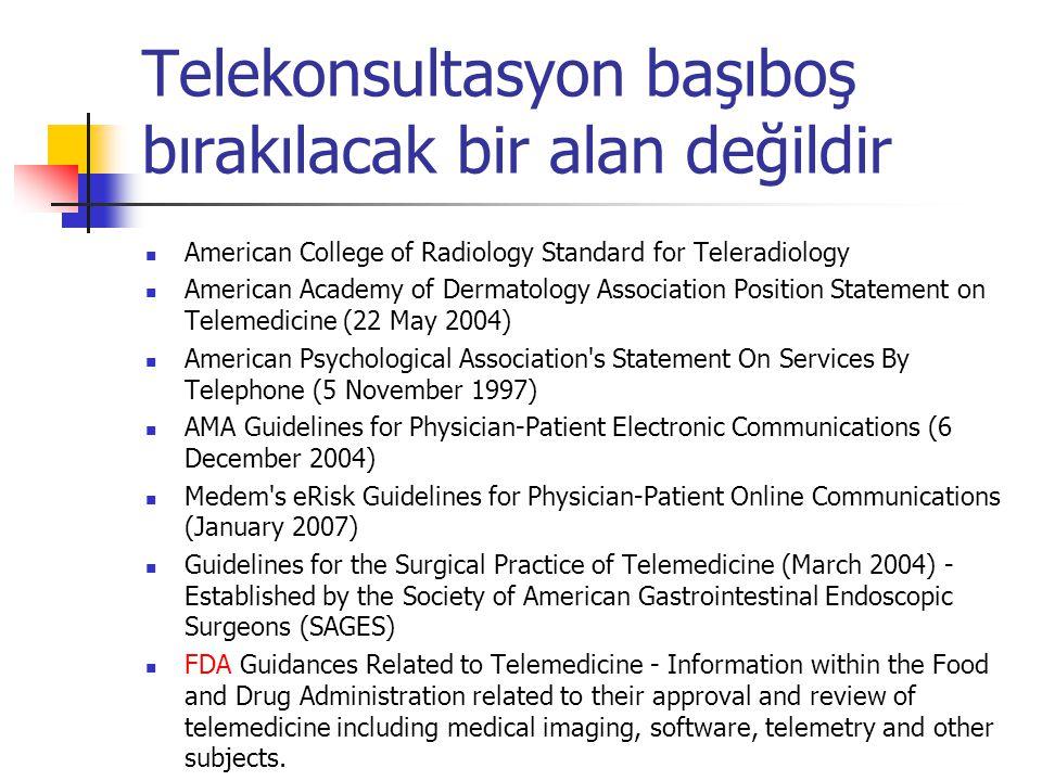 Telekonsultasyon başıboş bırakılacak bir alan değildir American College of Radiology Standard for Teleradiology American Academy of Dermatology Associ