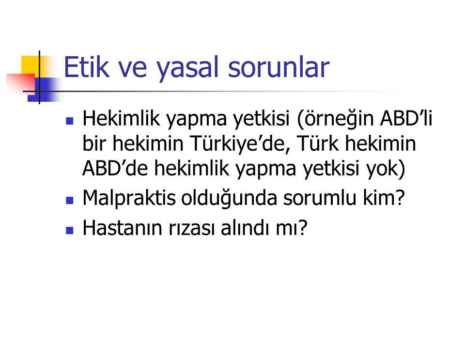 Etik ve yasal sorunlar Hekimlik yapma yetkisi (örneğin ABD'li bir hekimin Türkiye'de, Türk hekimin ABD'de hekimlik yapma yetkisi yok) Malpraktis olduğ