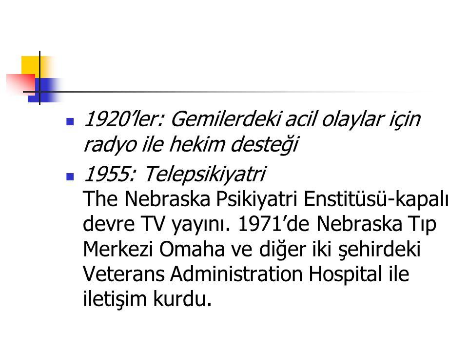 1920'ler: Gemilerdeki acil olaylar için radyo ile hekim desteği 1955: Telepsikiyatri The Nebraska Psikiyatri Enstitüsü-kapalı devre TV yayını. 1971'de