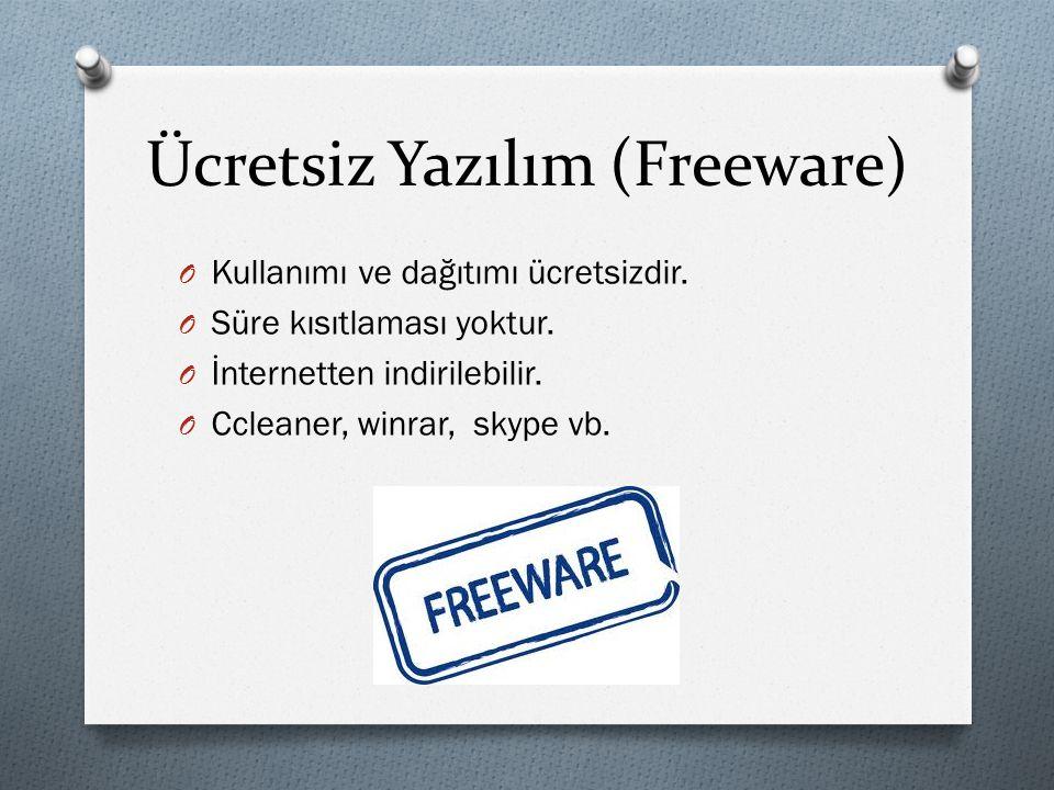 Ücretsiz Yazılım (Freeware) O Kullanımı ve dağıtımı ücretsizdir. O Süre kısıtlaması yoktur. O İnternetten indirilebilir. O Ccleaner, winrar, skype vb.
