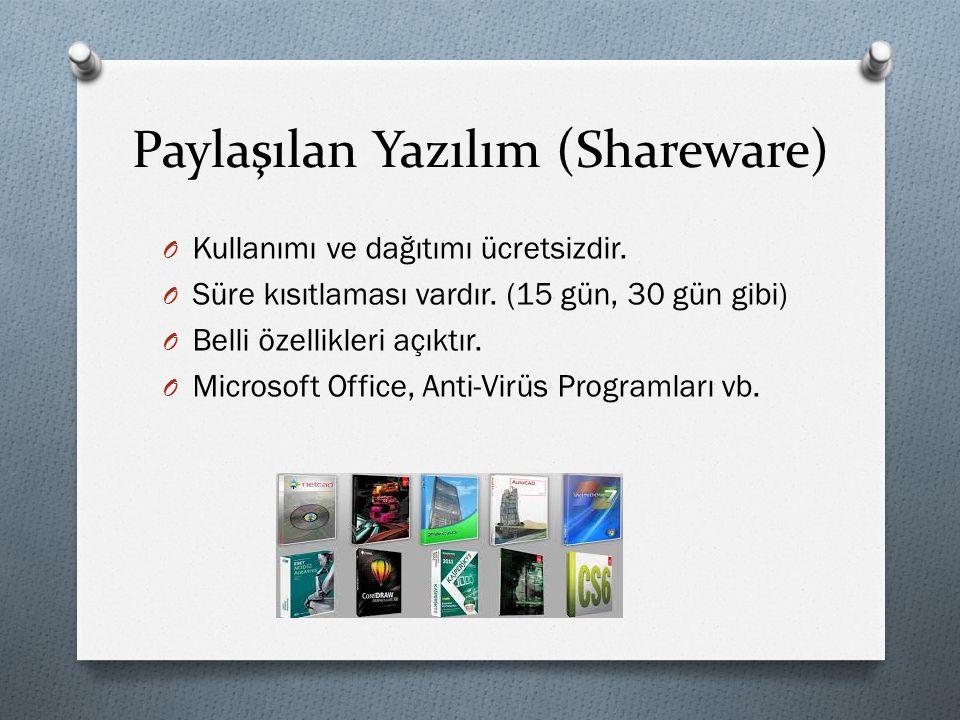 Paylaşılan Yazılım (Shareware) O Kullanımı ve dağıtımı ücretsizdir. O Süre kısıtlaması vardır. (15 gün, 30 gün gibi) O Belli özellikleri açıktır. O Mi
