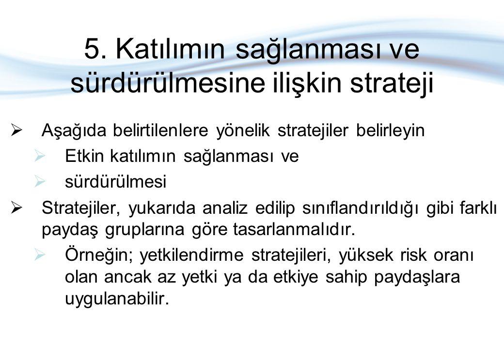 5. Katılımın sağlanması ve sürdürülmesine ilişkin strateji  Aşağıda belirtilenlere yönelik stratejiler belirleyin  Etkin katılımın sağlanması ve  s