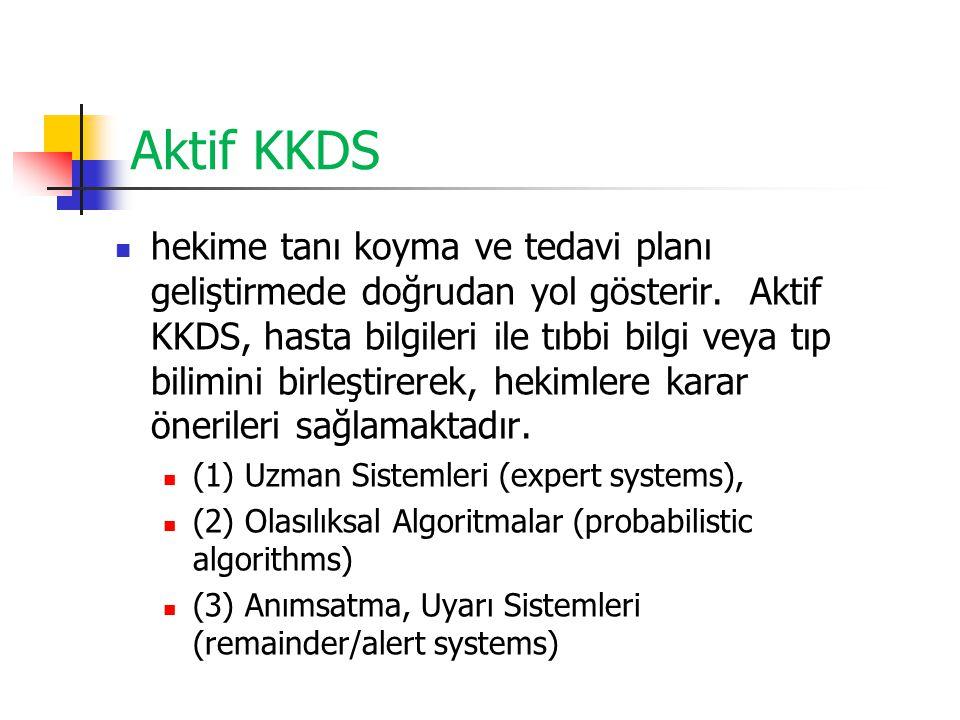 Aktif KKDS hekime tanı koyma ve tedavi planı geliştirmede doğrudan yol gösterir. Aktif KKDS, hasta bilgileri ile tıbbi bilgi veya tıp bilimini birleşt