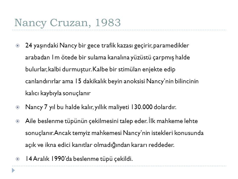 Nancy Cruzan, 1983  24 yaşındaki Nancy bir gece trafik kazası geçirir, paramedikler arabadan 1m ötede bir sulama kanalına yüzüstü çarpmış halde bulur