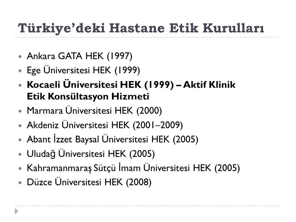 Türkiye'deki Hastane Etik Kurulları Ankara GATA HEK (1997) Ege Üniversitesi HEK (1999) Kocaeli Üniversitesi HEK (1999) – Aktif Klinik Etik Konsültasyo